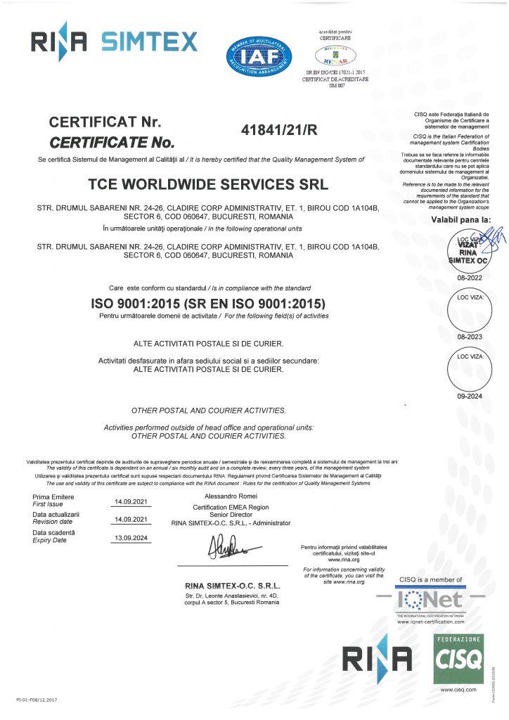 TCE WORLDWIDE SERVICES-9001-CERTIFICAT-RENAR
