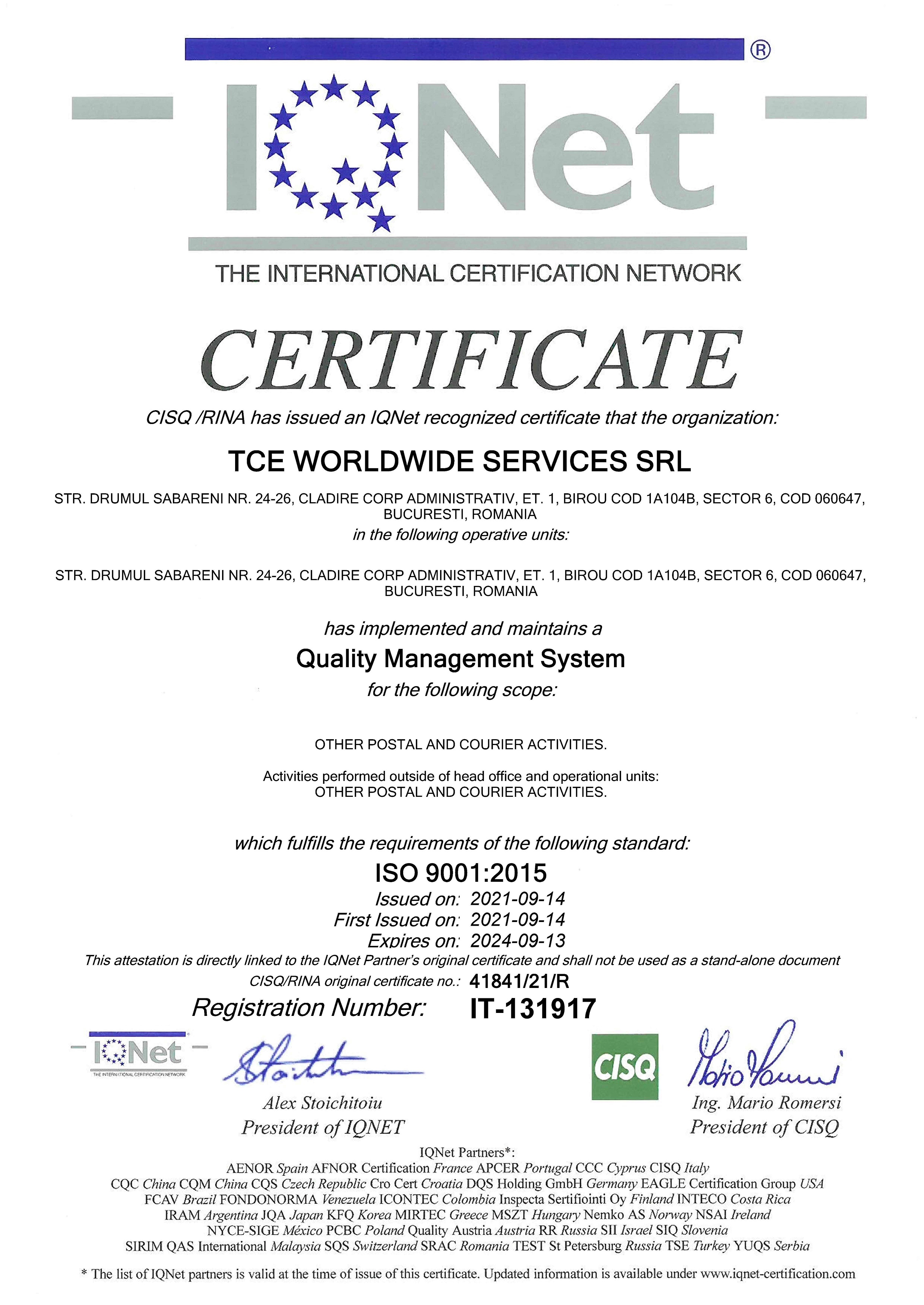 CERTIFICARE ISO TCE